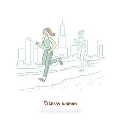 sportswoman running outdoor morning training vector image
