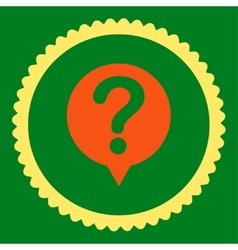 Status flat orange and yellow colors round stamp vector