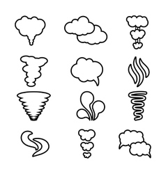 Steam cloud and smoke icons set vector