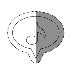 sticker of monochrome contour of oval speech with vector image