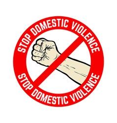 Stop domestic violence emblem vector