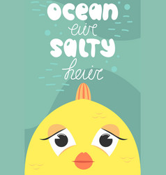 summer postcard with cute fish cartoon ocean air vector image