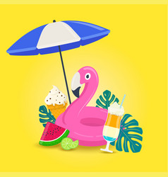 summer vacations background with beach elements vector image