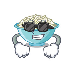 Super cool rice bowl character cartoon vector