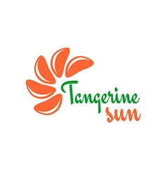 Tangerine slices logo Mandarine pieces as a sun vector image