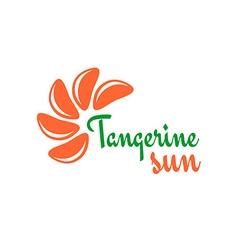Tangerine slices logo Mandarine pieces as a sun vector
