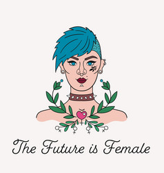 Tattooed punk girl with feminist slogan and plants vector
