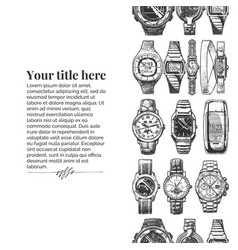 template with wristwatches vector image