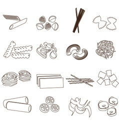 types of pasta food outline icons set eps10 vector image