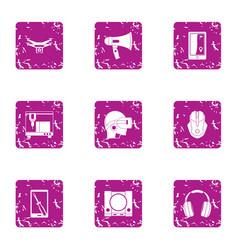Uav icons set grunge style vector