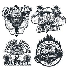 Vintage skateboarding monochrome labels vector