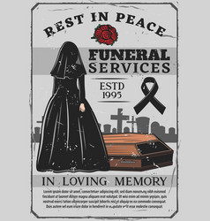 Widow and coffin funeral service interment vector