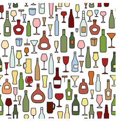 wine bottle wine glass tile pattern drink wine vector image
