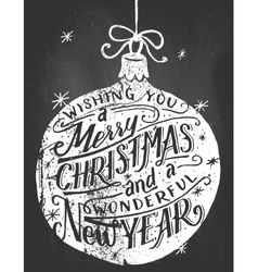 Wishing you a Merry Christmas chalkboard lettering vector image
