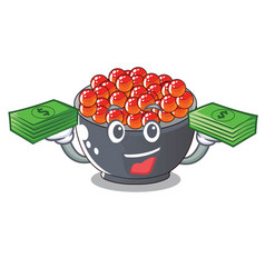 With money bag salmon roe character ready to eat vector