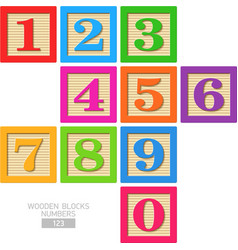 Wooden blocks numbers vector
