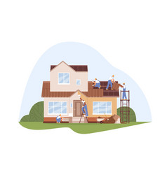 workers at house repair and renovation builders vector image
