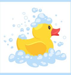 Yellow duck in soap foam vector