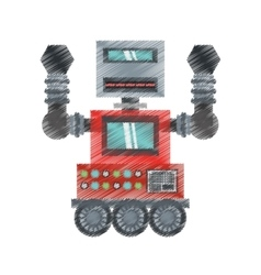 drawing robot machinery automation electronic vector image