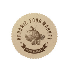 organic food market round paper emblem vector image