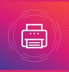 Printer icon in linear style vector