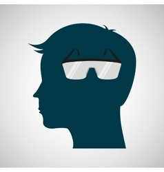 silhouette head protection glasses laboratory vector image