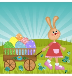 Easter greetings card with rabbit vector image vector image