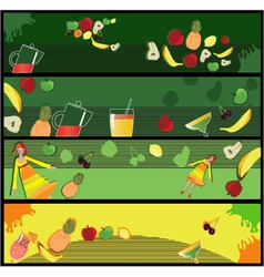 Fruit smoothie banners vector image vector image