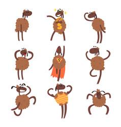funny cartoon sheep character set brown sheep in vector image vector image