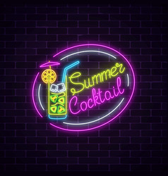 neon summer sign of cocktail with umbrella on vector image vector image