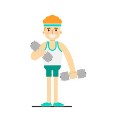 sporty boy doing exercise with dumbbells vector image