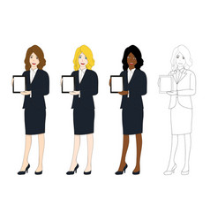 business woman presentation tablet vector image