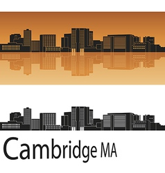 Cambridge skyline in orange vector image vector image