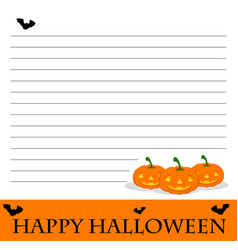 line paper template with halloween theme vector image vector image