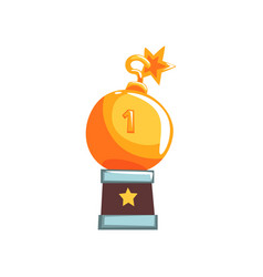 Shiny trophy in form of round bomb with burning vector