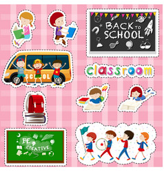 sticker design for students and school items vector image