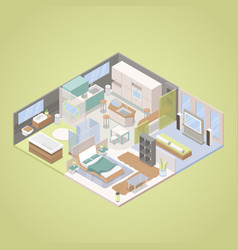 high tech modern apartment interior isometric vector image