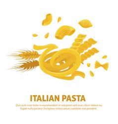 Original delicious exquisite italian pasta on vector