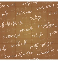 Physics formulas seamless pattern on brown vector image
