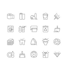 set of 20 cleaning line icons vector image