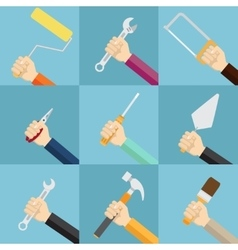Set of hands holding tools vector image vector image