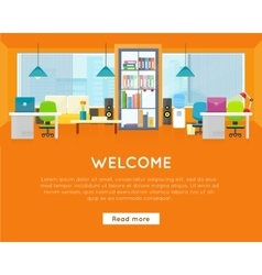 Welcome Office Banner Modern Office Interior vector image vector image