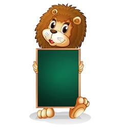 A lion holding an empty board vector
