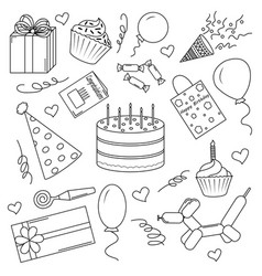 a set of black-and-white elements for a birthday vector image