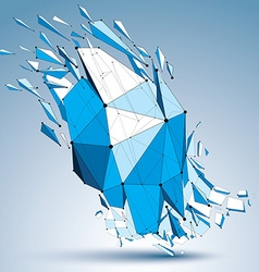 Abstract asymmetric blue low poly wrecked object vector