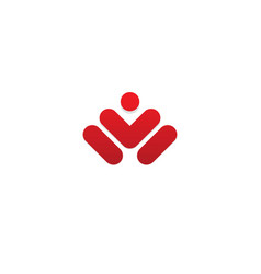 Abstract man success winner logo vector