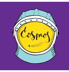 Astronaut helmet with inscription cosmos in the vector image