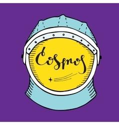 Astronaut helmet with inscription cosmos vector