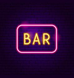 bar neon label vector image