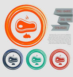 beef meat steak icon on the red blue green orange vector image